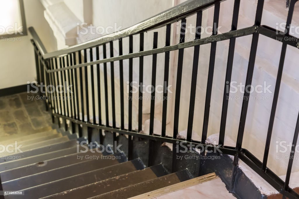 steps with handrails stock photo