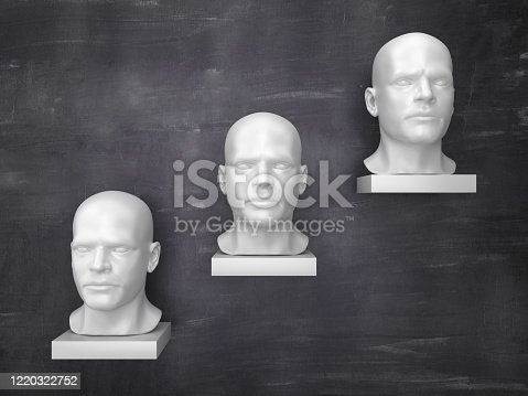 471353682 istock photo Steps with Human Heads on Chalkboard - 3D Rendering 1220322752