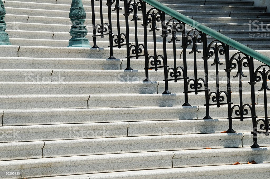Steps with metal railing. royalty-free stock photo