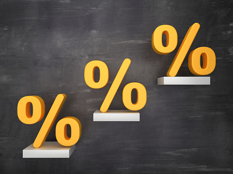 Steps with Percentage Symbol on Chalkboard - 3D Rendering