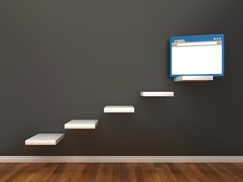 Steps with Web Browser on Chalkboard - 3D Rendering