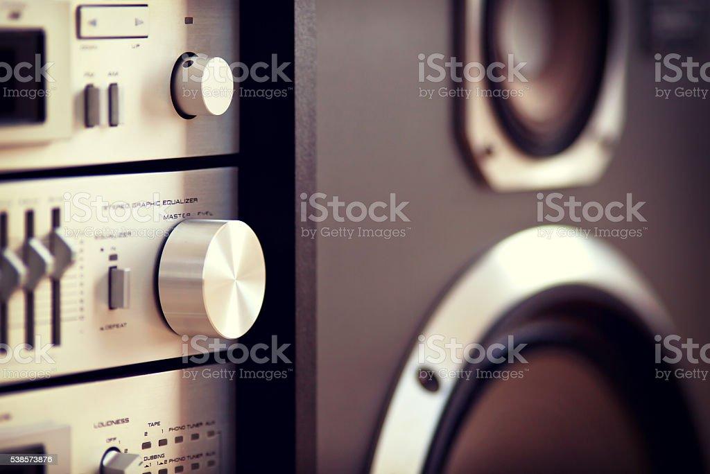 Stereo Audio Music Rack Component Control Knob stock photo