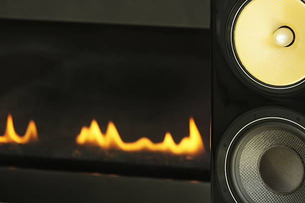 Stereo Music Speakers Fireplace Decor stock photo
