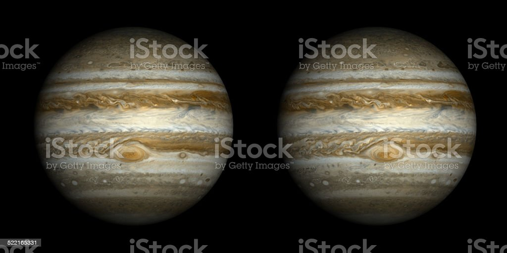 Stereo pair of Jupiter isolated on black. stock photo