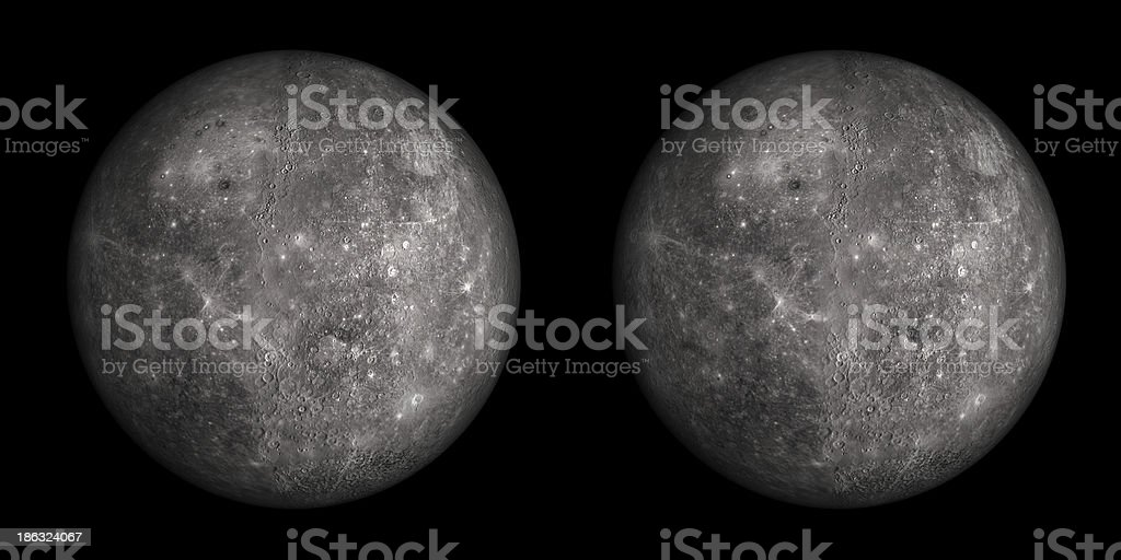 Stereo pair of Mercury isolated on black. stock photo