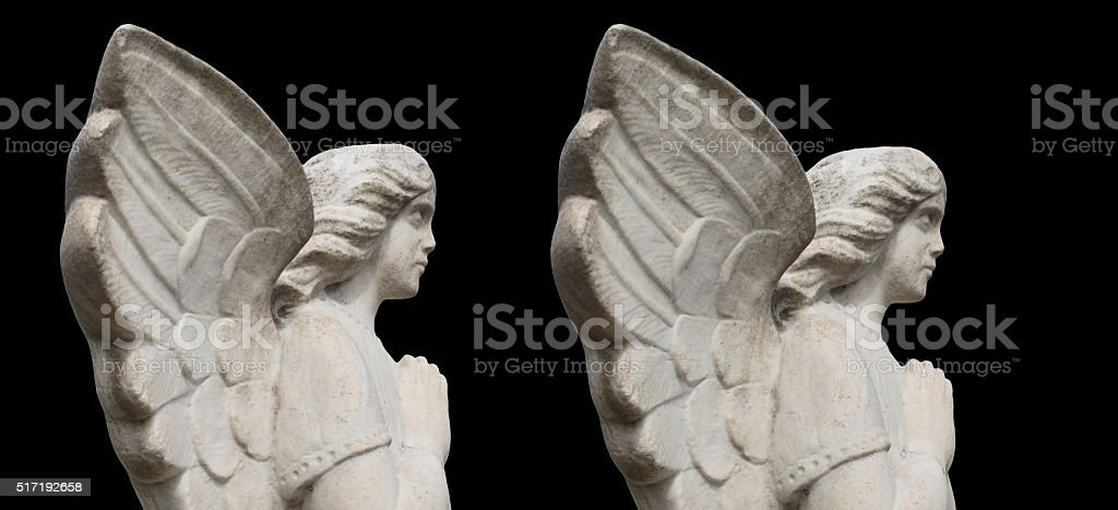 Stereoscopic Stereo Pair Winged White Angel In Stone Stock Photo Download Image Now Istock