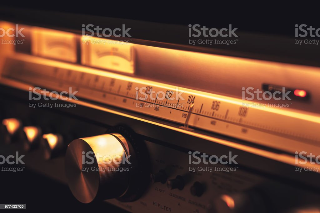Stereo radio FM scale with vintage dials close up stock photo