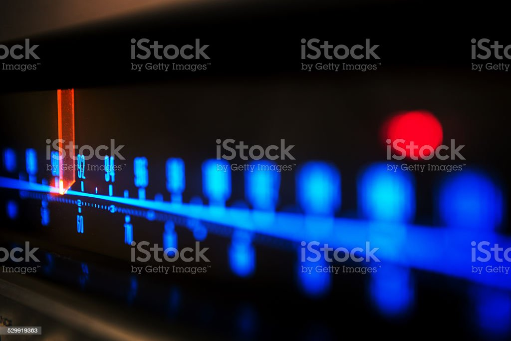 stereo receiver tuning scale stock photo