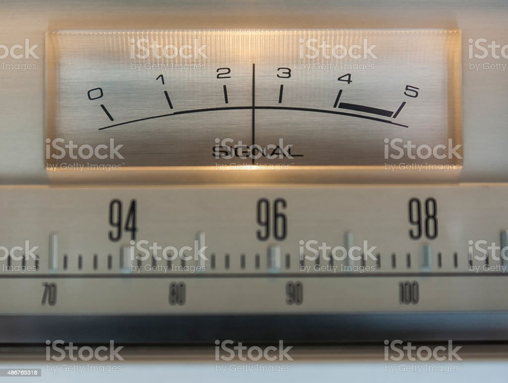 Stereo Tuner Signal Meter stock photo