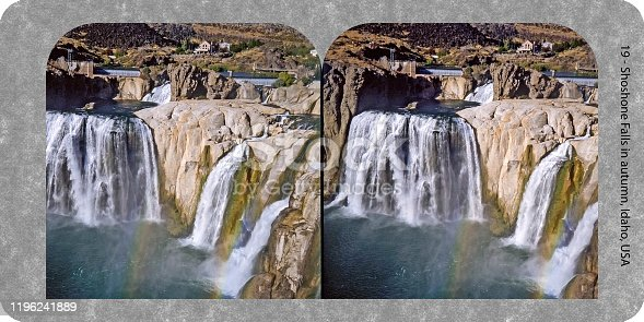 Stereograph card of Shoshone Falls in autumn, Idaho, USA. Scanned film photographed in 2019. Original 7 inch x 3.5 inch at 360 dpi.
