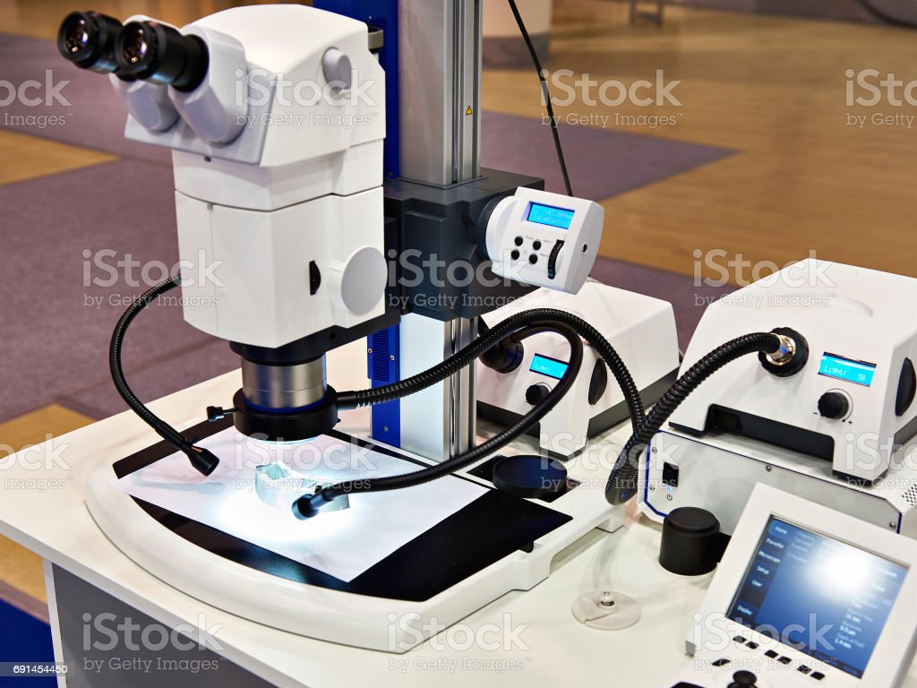 Stereomicroscope and LED lighting for research stock photo