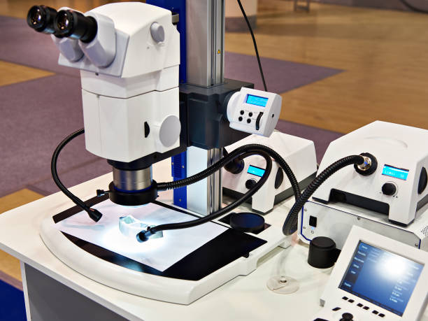stereomicroscope and led lighting for research - metallurgy stock photos and pictures