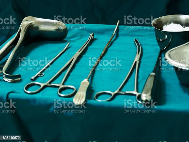Sterile Curettage Tools Forceps Retractor In Operation Room At Medical Hospital For Treatment Of Abortion Abnormal Female Menstruation Period Or Bleeding Miss Carriage Stock Photo - Download Image Now