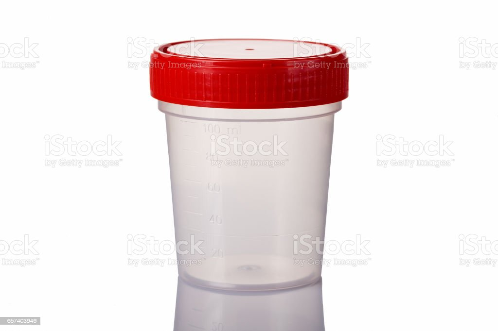 Sterile Medical container for urine isolated on white with reflection stock photo