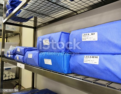 Sterile Store Of Operation Theater. Wrapped Sterile Instruments.