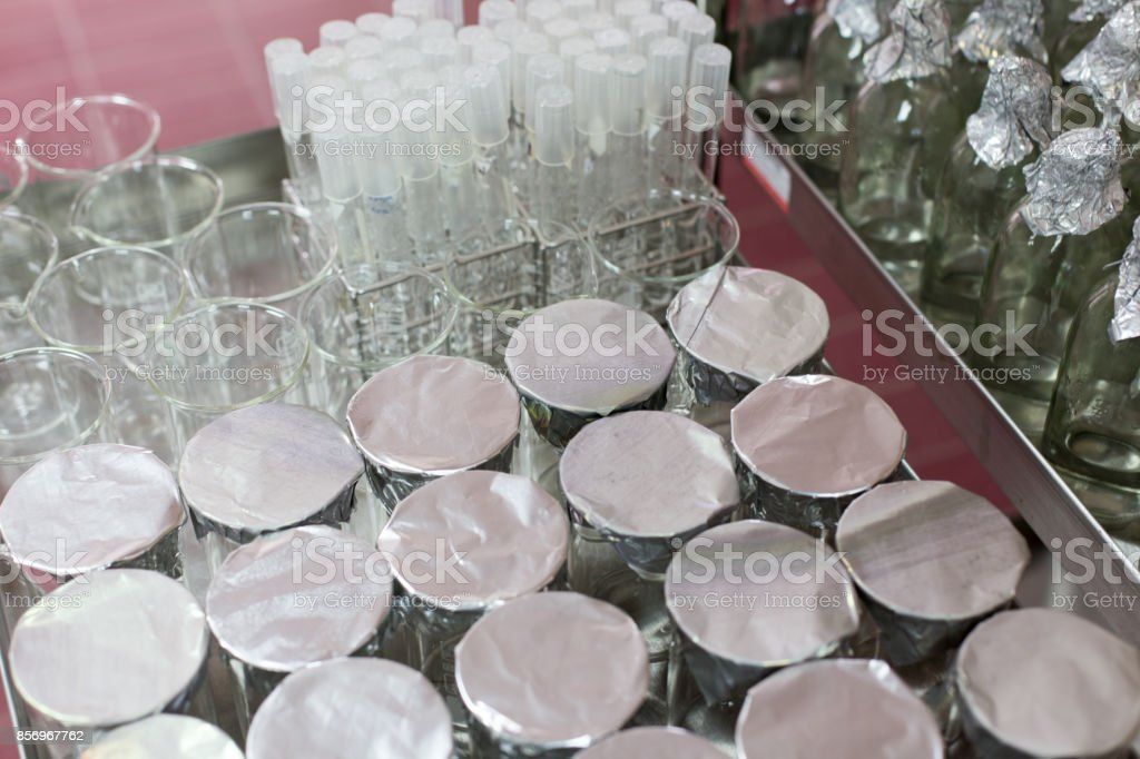 Sterilization of glassware for microbiological studies. stock photo