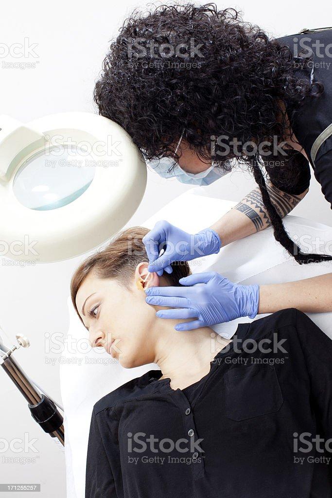 Sterilizing the ear stock photo