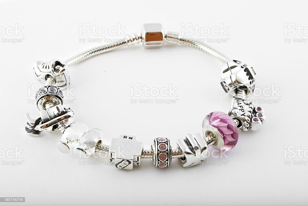 Sterling silver Charm Bracelet stock photo