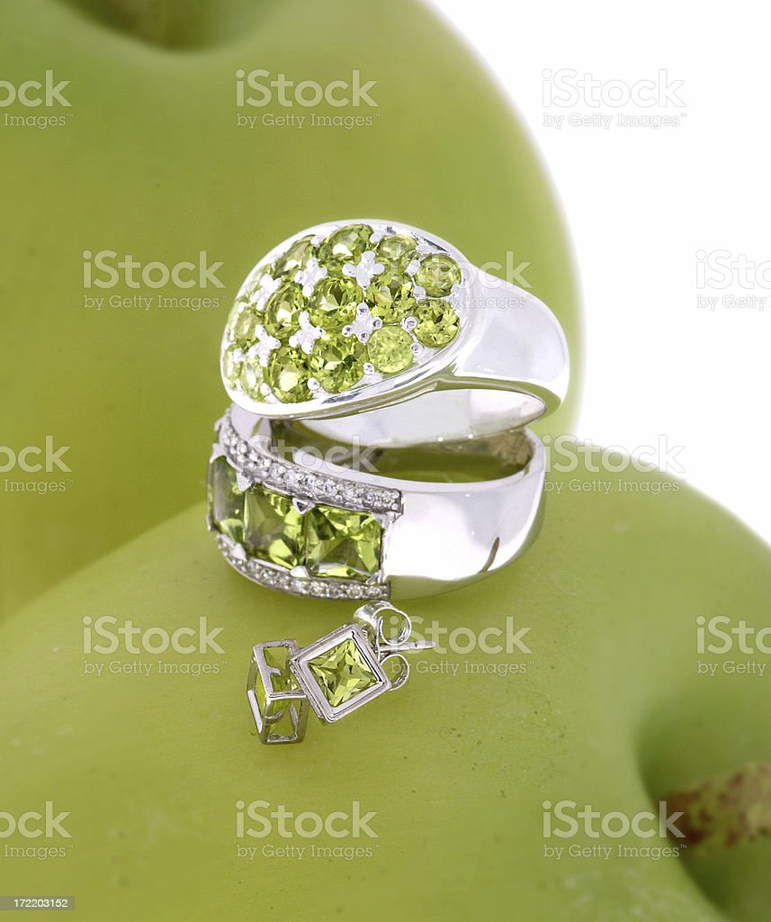 Sterling silver rings and earring with set Peridot jewelry royalty-free stock photo