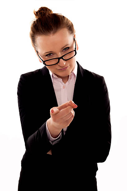 Stern businesswoman. stock photo