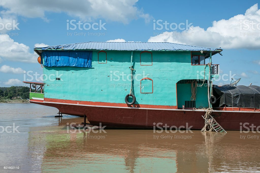 Stern of Iron transportation boat in Mae Khong River,Laos. Lizenzfreies stock-foto
