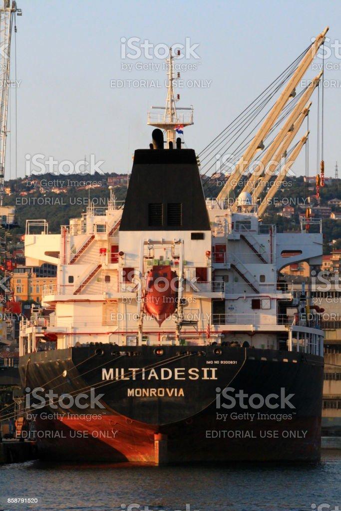 Stern of liberian cargo ship Miltiades II at the port of Rijeka stock photo