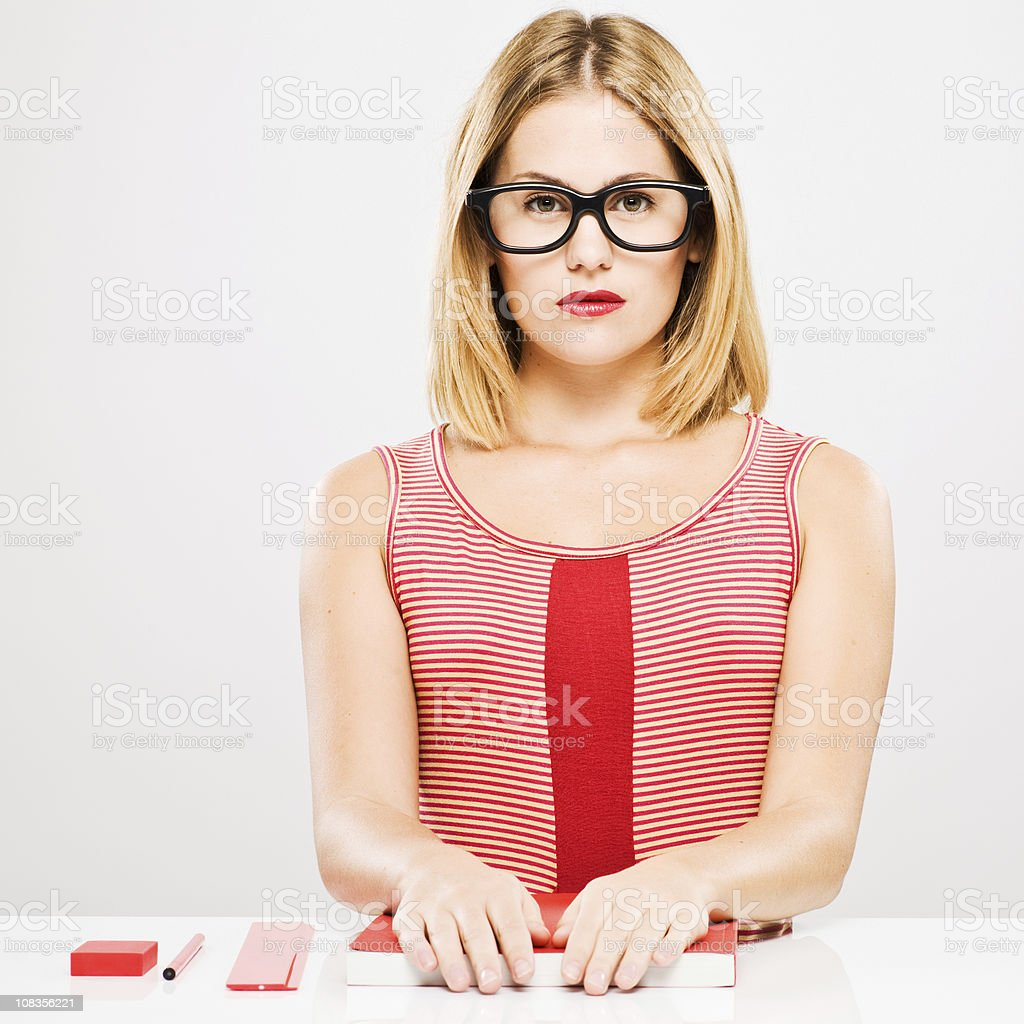 Stern office worker. royalty-free stock photo