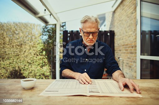 116379055 istock photo Stern senior man reading a financial newspaper on his patio 1035680144