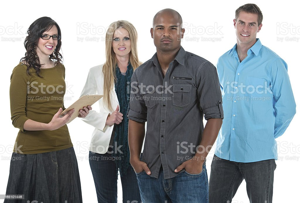 Stern Team Lead with Smiling Group Of Employees royalty-free stock photo