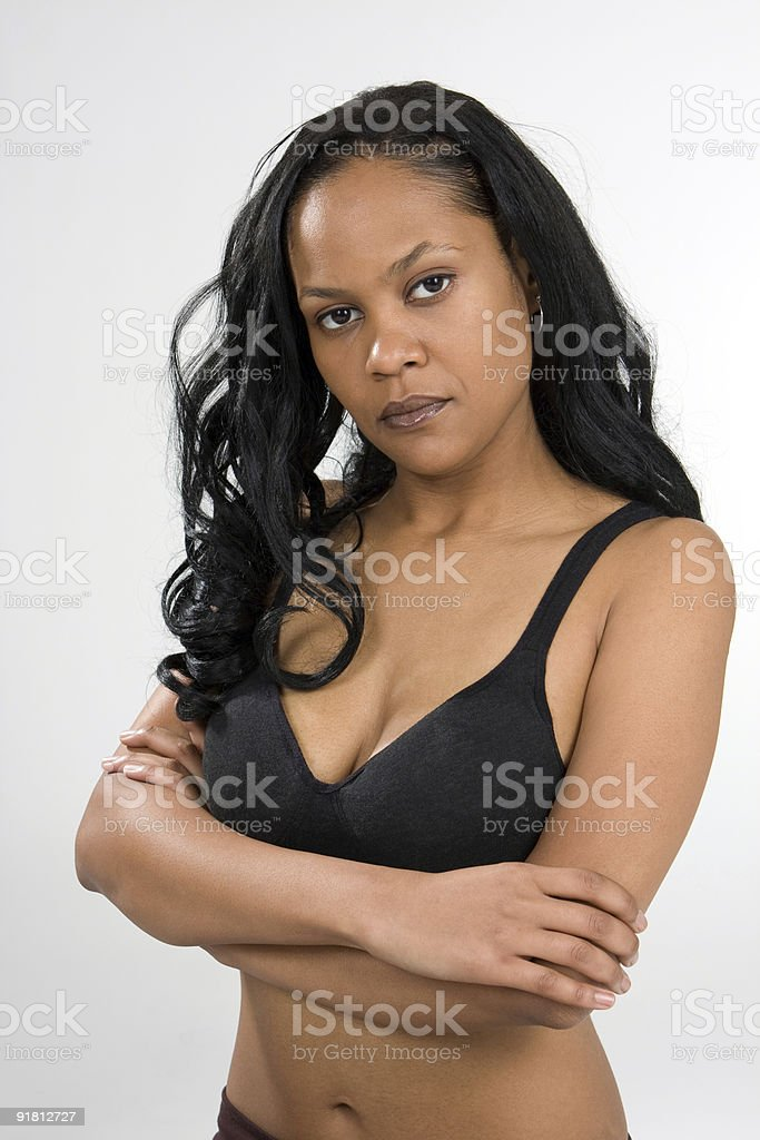 Stern Young Woman stock photo