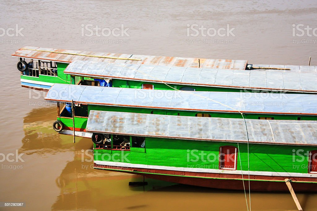 Sterns Of Laos Boat stock photo