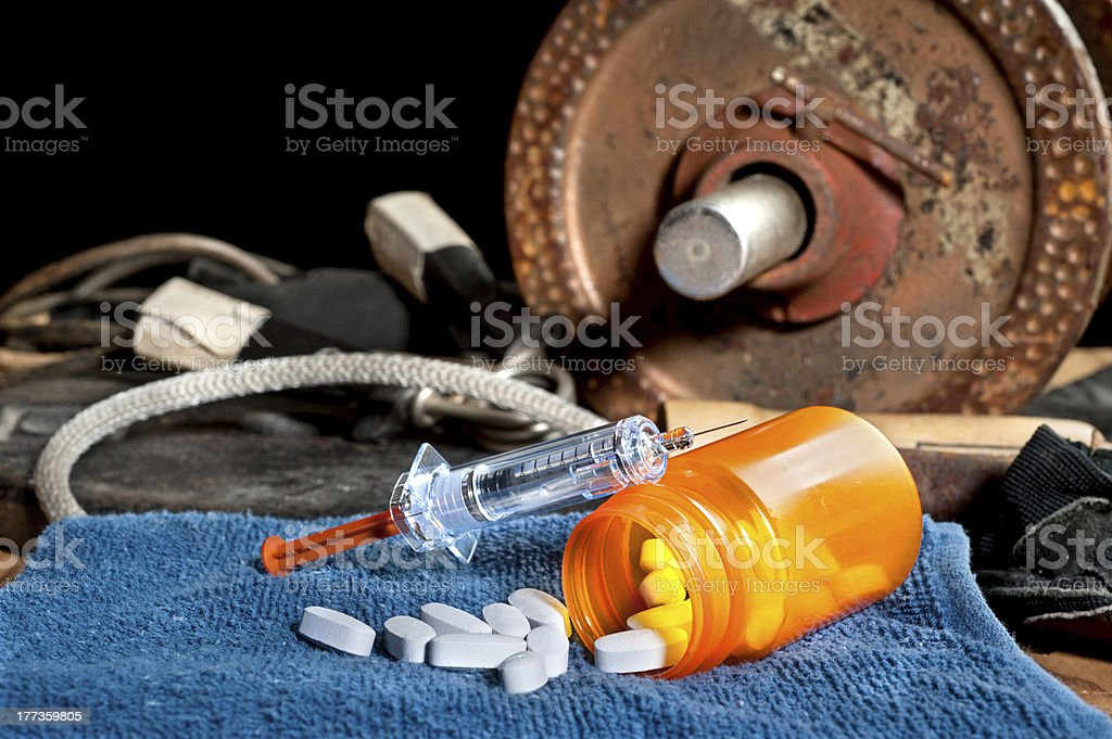 Steroids and sports stock photo