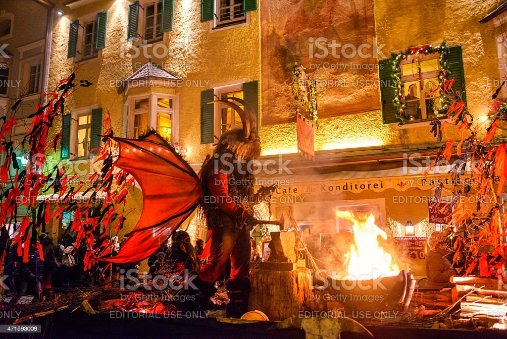 Sterzing on Fire during Tuifltog (Krampus Night) royalty-free stock photo