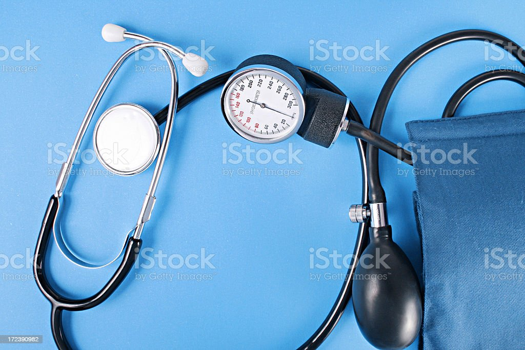 stethescope and medical objects. stock photo