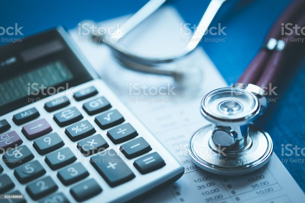 Stethoscope And Calculator Concept stock photo