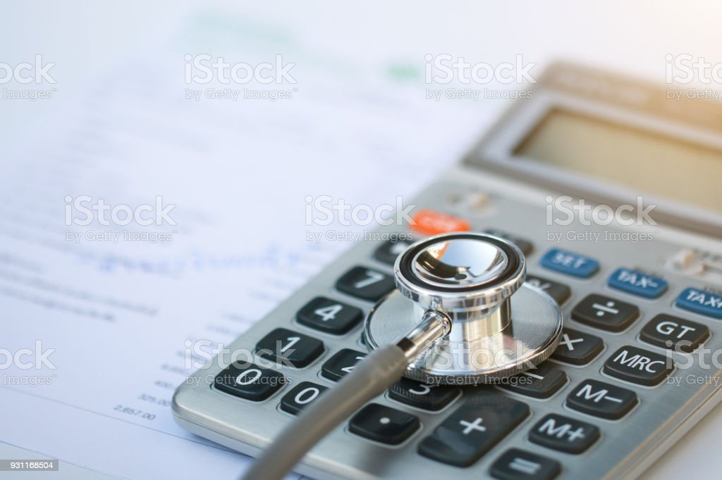 Stethoscope and calculator symbol for health care costs or medical...