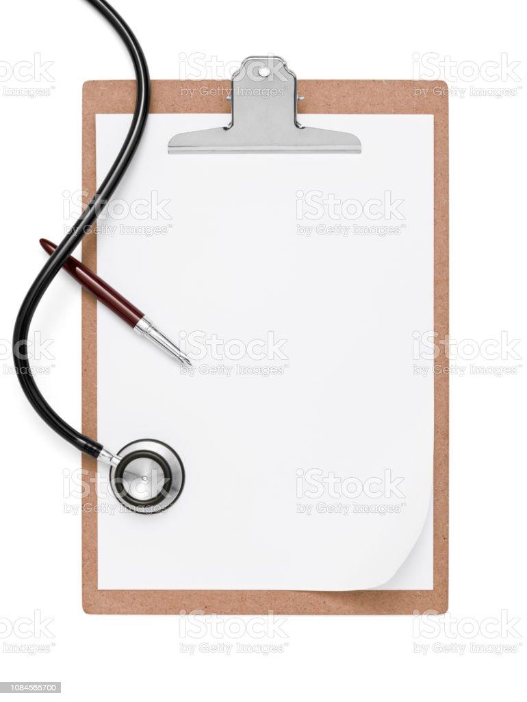 Stethoskop und Zwischenablage mit Stift – Foto