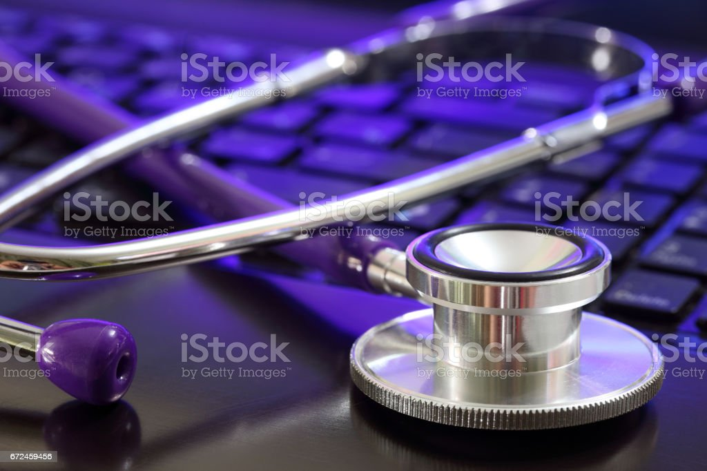Stethoscope and computer stock photo