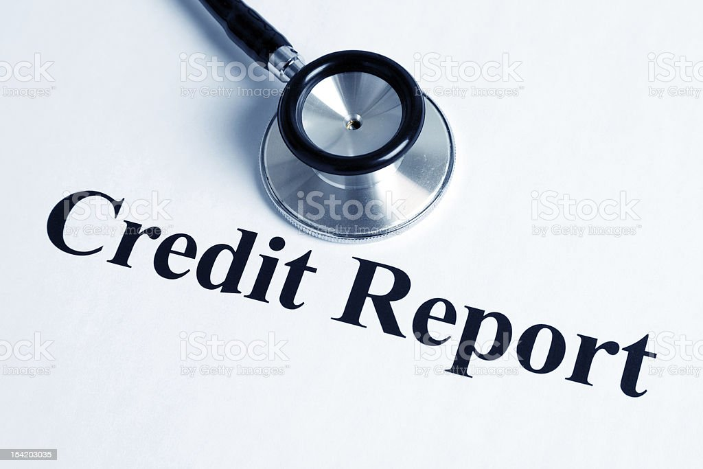 Stethoscope and Credit Report stock photo
