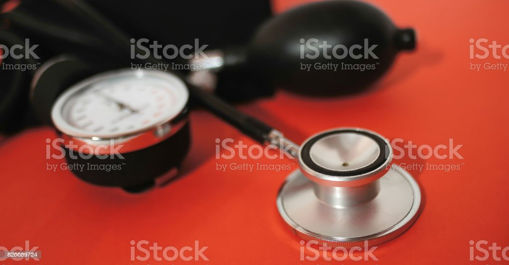 stethoscope and device for Blood pressure monitor stock photo
