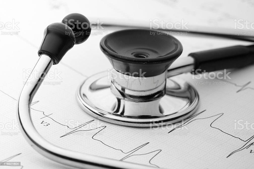 stethoscope and EKG royalty-free stock photo