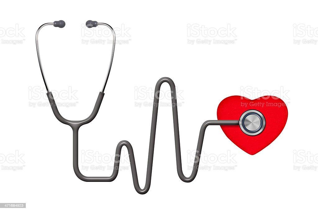 Estetoscopio Y Corazón Con Trazado De Recorte Stock Foto