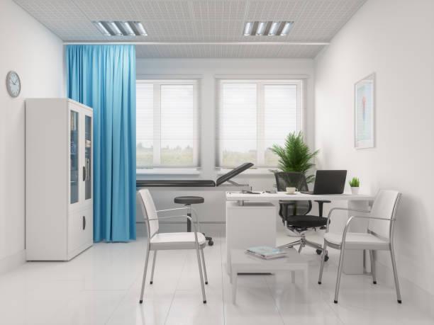 医師の机で聴診器とラップトップ - 医院 ストックフォトと画像