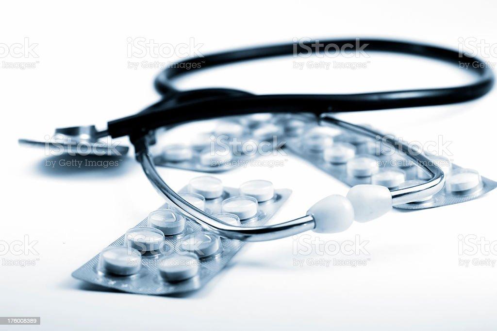 Stethoscope and medicine royalty-free stock photo