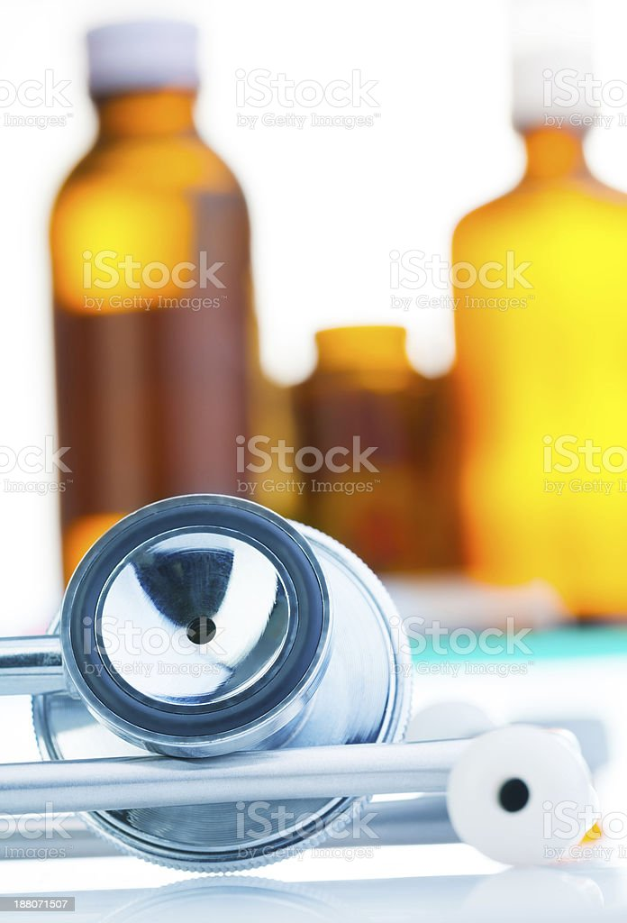 Stethoscope and medicine royalty-free stock photo