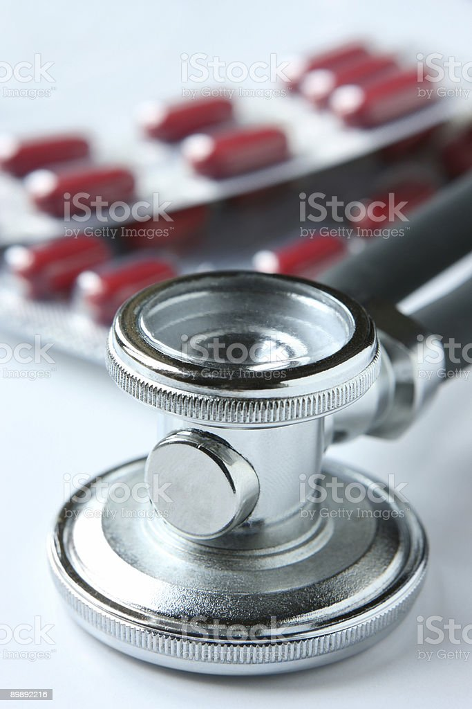 Stethoscope and pills royalty-free stock photo