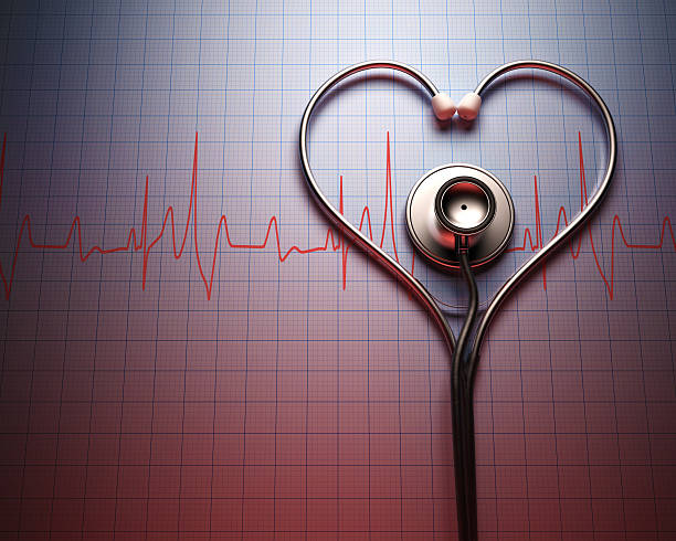 stethoscope heart shape - taking pulse stock photos and pictures