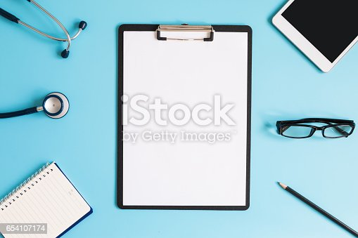 istock Stethoscope in doctors desk 654107174