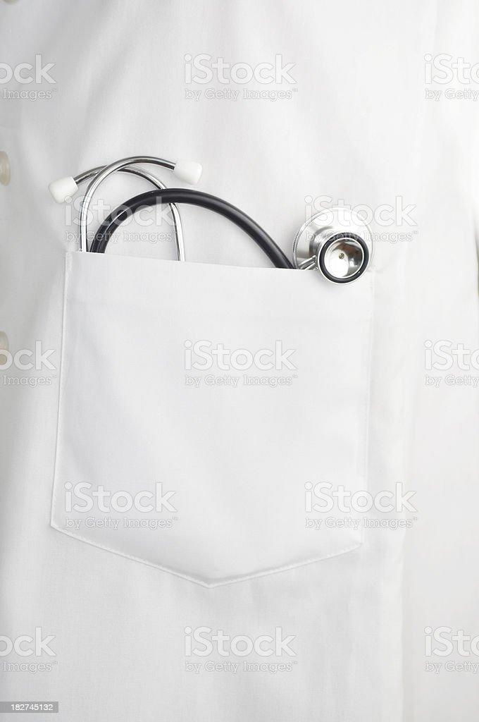 stethoscope In doctors lab coat pocket stock photo