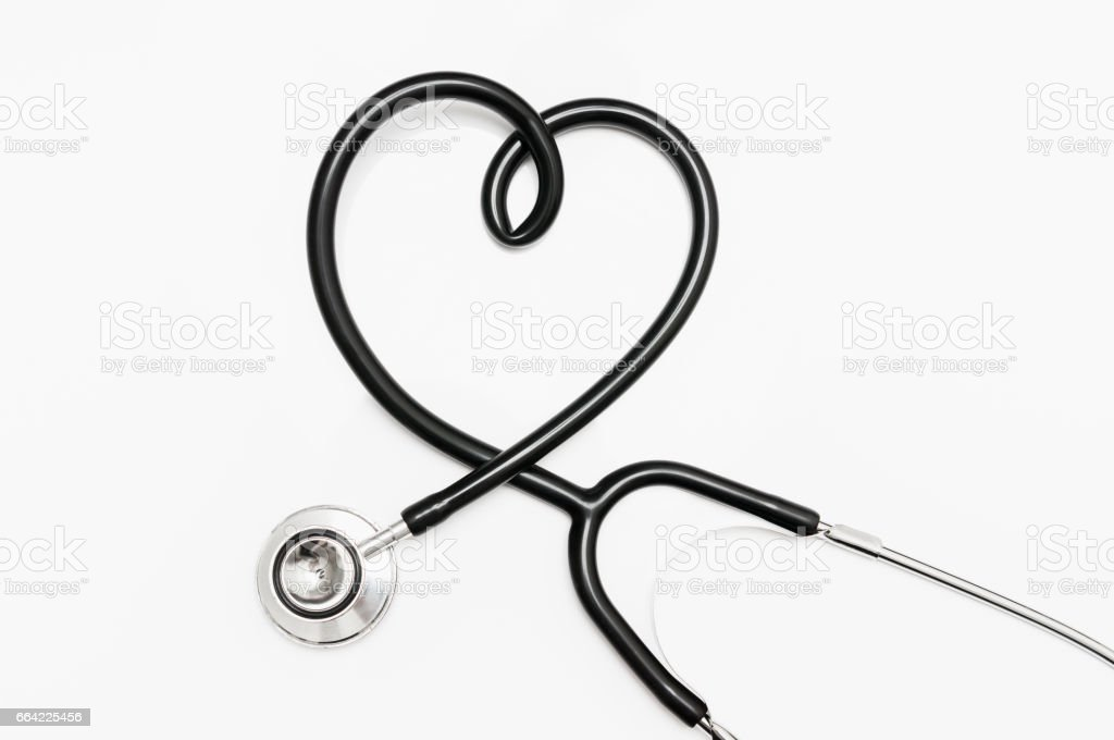 Stethoscope in shape of heart isolated on white background stock photo